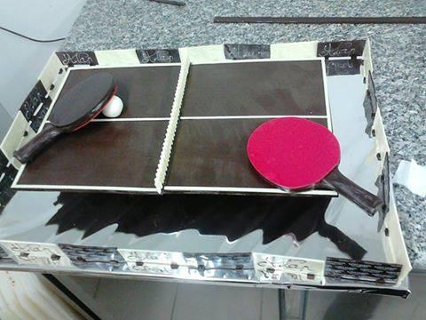 La table de pingpong pour le tournoi de Villeurbanne est prête.Bon tournoi!!!
